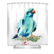 Blue Parrot Bird Shower Curtain