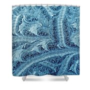 Extraordinary Hoarfrost Scallop Patterns In Blue Shower Curtain