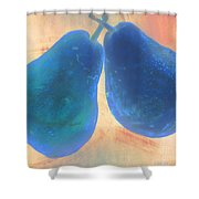 Blue Pears On Soft Peach Shower Curtain