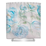 Blue Peonies Shower Curtain