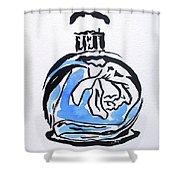 Blue Perfume Bottle Shower Curtain