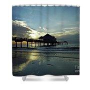 Blue Pier 60 Sunset Shower Curtain