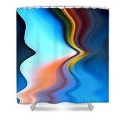 Blue Pinch Wave Shower Curtain