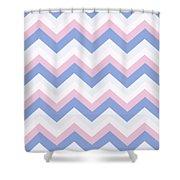 Blue Pink Chevron Pattern Shower Curtain