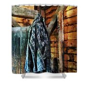 Blue Plaid Jacket In Cabin Shower Curtain by Susan Savad