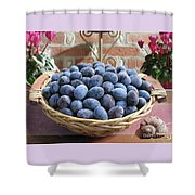 Blue Plums In A Basket Shower Curtain