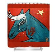 Blue Pony  -001 Shower Curtain
