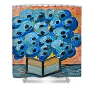 Blue Poppies In Square Vase  Shower Curtain