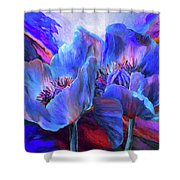 Blue Poppies On Red Shower Curtain