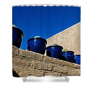 Blue Pottery On Wall Shower Curtain