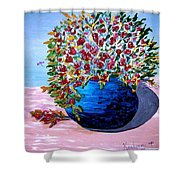 Blue Pottery With Flowers Shower Curtain