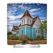 Blue Prairie Church Shower Curtain