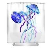 Blue Purple Jellyfish Artwork Design Shower Curtain