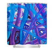 Blue Purple Paths  Shower Curtain