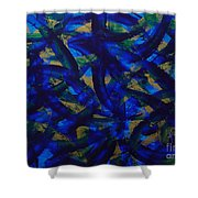 Blue Pyramid Shower Curtain