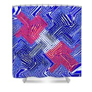 Blue Red And White Janca Abstract Panel Shower Curtain