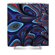 Blue Red Folds Shower Curtain