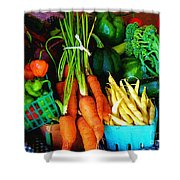 Blue Ribbon Harvest Shower Curtain