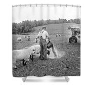 Blue Ridge Mountain Farmer Shower Curtain