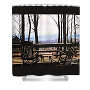 Blue Ridge Mountain Porch View Shower Curtain