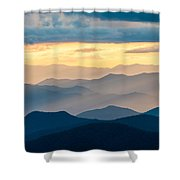 Blue Ridge Parkway Nc Blue Ridges And Golden Light Shower Curtain