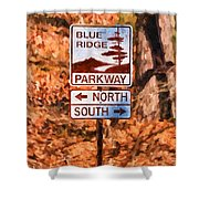 Blue Ridge Parkway Sign Shower Curtain