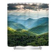 Blue Ridge Southern Appalachian Mountain Light Show Shower Curtain