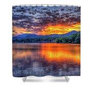 Blue Ridges Lake Junaluska Sunset Great Smoky Mountains Art Shower Curtain