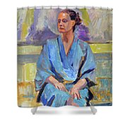 Blue Robe Shower Curtain
