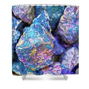 Blue Rocks Hold Shower Curtain