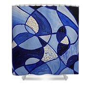 Blue Rollercoaster Shower Curtain