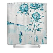 Blue Roses On A Table Shower Curtain