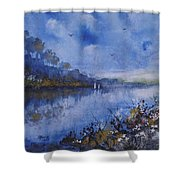 Blue Sail, Watercolor Painting Shower Curtain