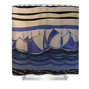 Blue Sailing Boats In The Harbour Shower Curtain
