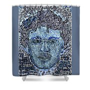 Blue Self Portrait Shower Curtain