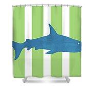 Blue Shark 2- Art By Linda Woods Shower Curtain