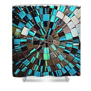 Blue Shiny Stones Gems In A Circular Pattern Shower Curtain