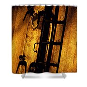 Blue Ship Hatchway At Sunrise Shower Curtain