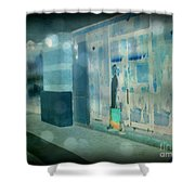 Blue Shopper Shower Curtain