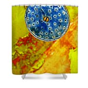 Blue Shower Head Shower Curtain by Skip Hunt