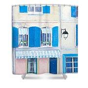 Blue Shutters Arles France Shower Curtain