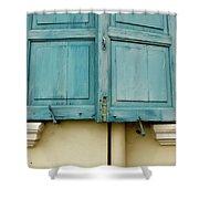 Blue Shutters Rudesheim Shower Curtain