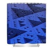 Blue Sierpinski Shower Curtain