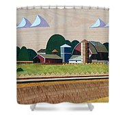 Blue Silo-marquetry-image Shower Curtain