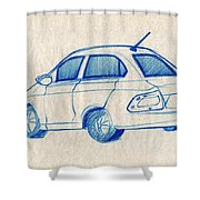 Blue Sketch Of A Car From Left Rear View With A Rear Aerial  Shower Curtain