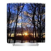 Blue Skies And Golden Sun Shower Curtain