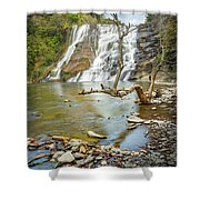 Blue Skies Over Ithaca Falls Shower Curtain