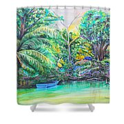 Blue Skiff Shower Curtain