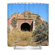 Blue Sky Black Tunnel Shower Curtain