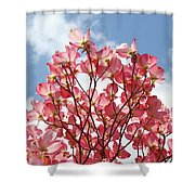Blue Sky Clouds Landscape 7 Pink Dogwood Tree Baslee Troutman Shower Curtain